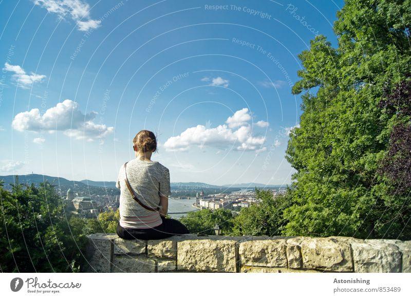 Blick auf Budapest Mensch feminin Junge Frau Jugendliche Körper Rücken 1 18-30 Jahre Erwachsene Umwelt Natur Landschaft Pflanze Luft Himmel Wolken Horizont