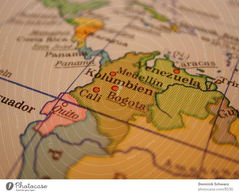 Von Reisenden und fernen Ländern. Landkarte Freizeit & Hobby Südamerika Venezuela Atlas Kolumbien Panama Bogotá
