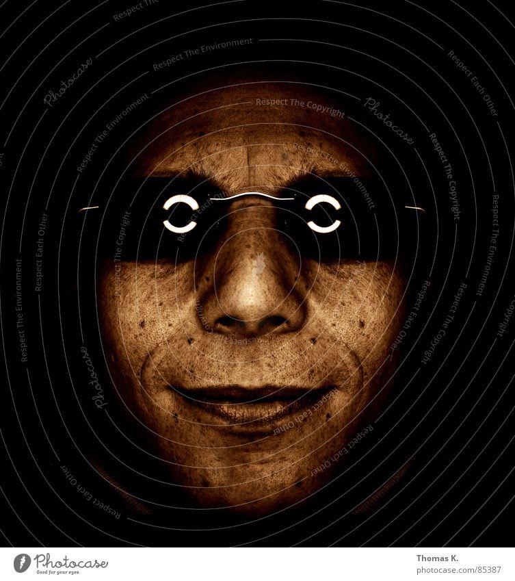 Virtuelle Symmetrie Mann Gesicht schwarz Haare & Frisuren braun Glas Nase Perspektive trist Brille Wandel & Veränderung Bild Bart Sonnenbrille beige Hippie
