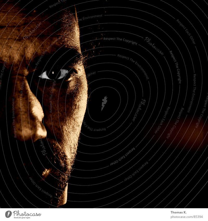 I take pictures, photographic pictures, bright light, dark room Mann Gesicht schwarz Haare & Frisuren braun Beleuchtung Glas Gold Nase Perspektive trist