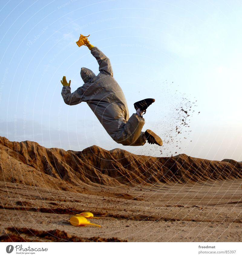 grau™ - kannenwurf rot Freude gelb springen grau Sand Kunst dreckig lustig fliegen verrückt Maske Anzug dumm Surrealismus Planet