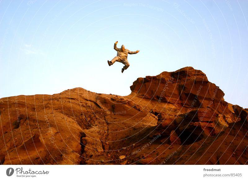 grau™ - marswanderung gelb grau-gelb Anzug rot Gummi Kunst dumm sinnlos ungefährlich verrückt lustig Freude Schwerelosigkeit Planet Kannen Gießkanne springen