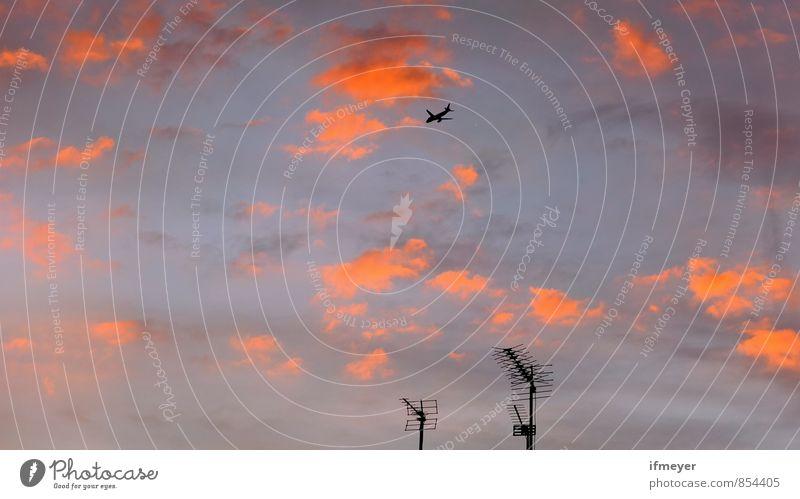 Himmel Himmel Ferien & Urlaub & Reisen Stadt rot Wolken Ferne Gefühle rosa Luft orange Business Häusliches Leben Luftverkehr Verkehr Perspektive Flugzeug