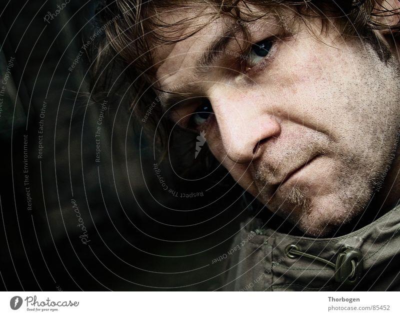 Selbstportrait - Oder, der Bart ist ab! Mann Gesicht Regen Ruine Ärger Bunker retuschieren