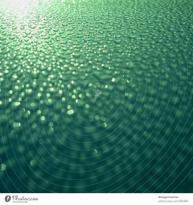 quadratischer Morgentau Wasser Sonne Meer grün schwarz gelb Fenster grau Landschaft hell Wassertropfen nass Horizont feucht Tau Geländer
