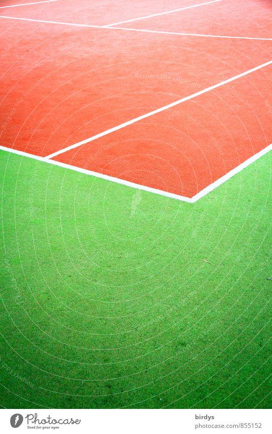 Tennisplatz rot-grün Farbe Sport Linie Design ästhetisch Ecke Sauberkeit sportlich Leidenschaft positiv Leistung Sportstätten
