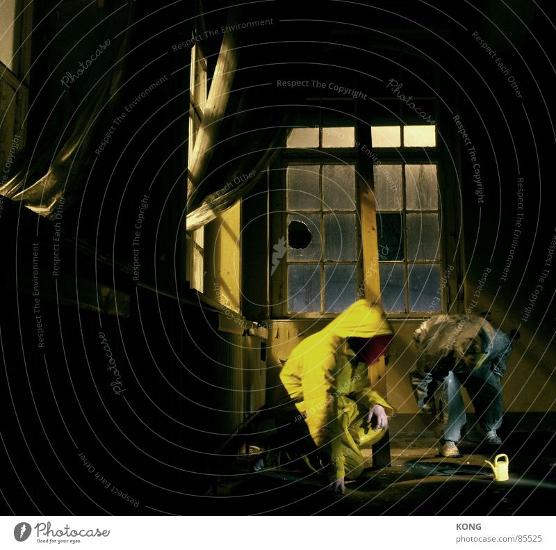 im dunkeln sind alle kannen graugelb™ Haus gelb Fenster grau Raum Baustelle Kommunizieren beobachten Müll Maske Anzug Verfall Vorhang Kontrolle Fensterscheibe Gardine