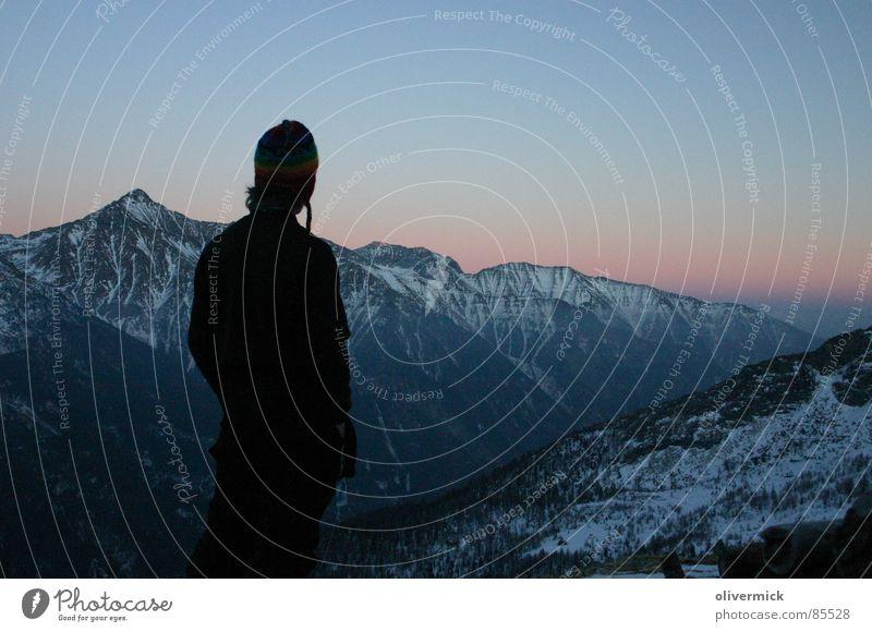 sanset Mensch Ferien & Urlaub & Reisen Spielen Berge u. Gebirge Abenddämmerung Ambiente Skitour