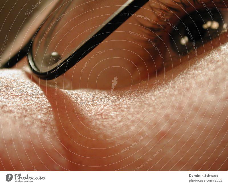 geschärfte Sinne Brille Wimpern Makroaufnahme Mann maskulin Pupille Auge Regenbogenhaut Nase Haut Glas Detailaufnahme Mensch Linse Sehvermögen