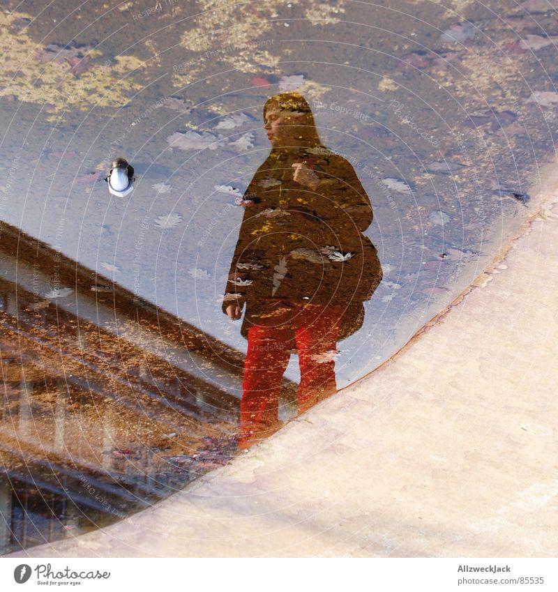 Mainstream Frau Wasser feminin nass Trauer Konzentration Verzweiflung Langeweile Selbstportrait Pfütze Spiegelbild Verzerrung