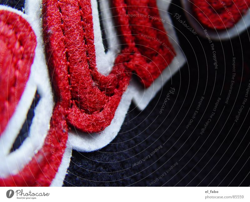 wenn... rot schwarz Stoff Naht Nähen Filz Makroaufnahme Nahaufnahme stickerei (wers glaubt...) usw usf