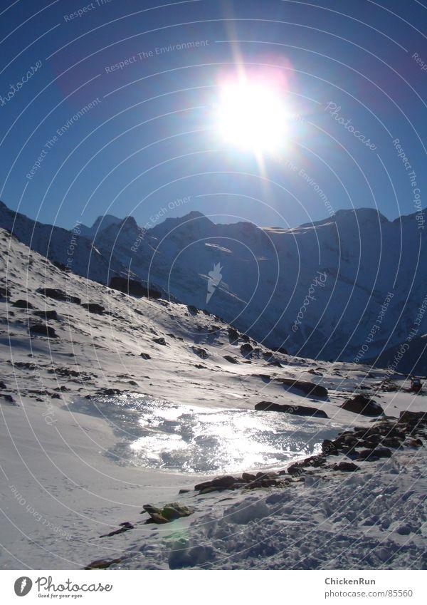 Skiurlaub Gletscher Panorama (Aussicht) Winter Berge u. Gebirge Sonne Eis Schnee Landschaft groß