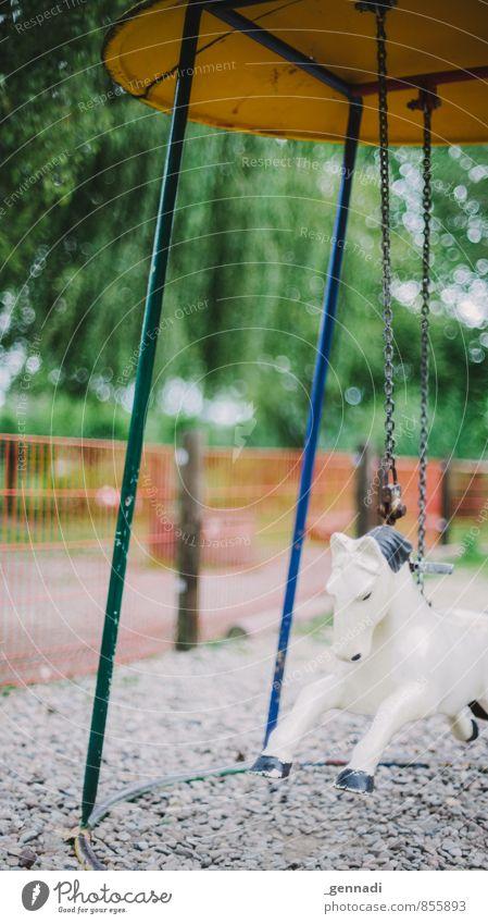 Schaukel du Pferd Schaukelpferd Spielplatz Kindheitstraum hängen gehen alt Freude kindlich Jugendliche Unschärfe verträumt mehrfarbig Spielzeug Farbfoto