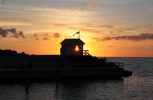 Schwedischer Moment Himmel Ferien & Urlaub & Reisen schön Wasser Sommer Meer Erholung ruhig Wolken gelb Glück Freiheit Stimmung Horizont orange leuchten