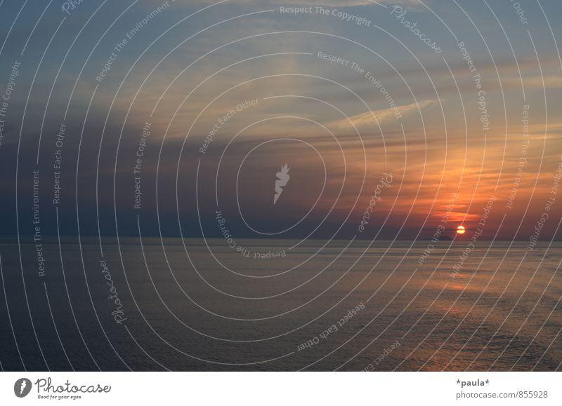Ein letzter Blick zurück Natur Wasser Himmel Wolken Horizont Sonne Sonnenaufgang Sonnenuntergang Sonnenlicht Schönes Wetter Wellen Meer ästhetisch Ferne