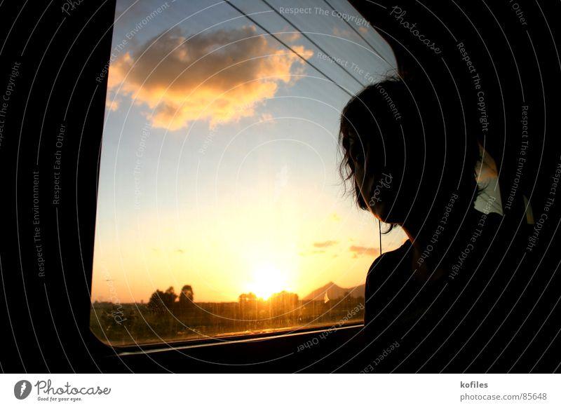 all ends Eisenbahn Trauer Himmel Sonnenuntergang fahren Ferien & Urlaub & Reisen Abend Verzweiflung Sonnenntergang train sad Traurigkeit sky melancholy