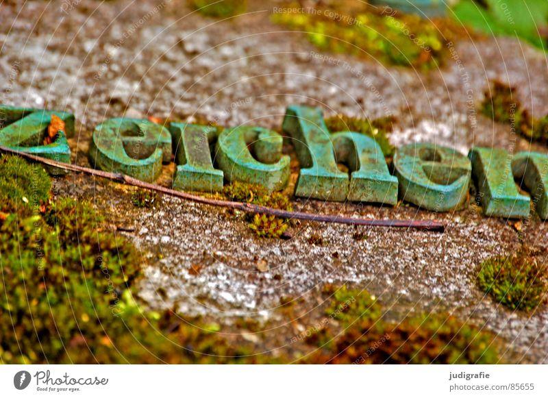 Zeichen grün Stein Schriftzeichen Buchstaben verfallen Rost Typographie Wort Zweig Friedhof Makroaufnahme Grabstein Grünspan Serife Oxidation
