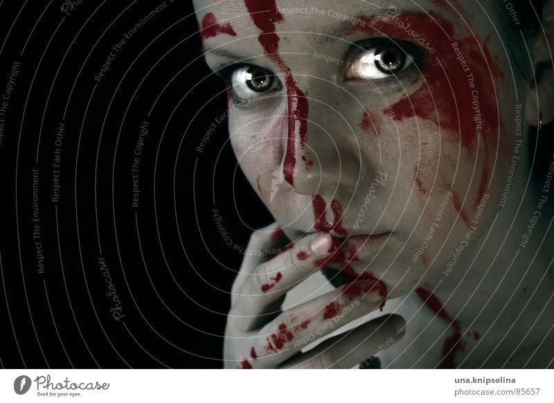 salissante.coloré Jugendliche rot Gesicht Auge Tod leuchten Sehnsucht Neigung Versuch Blut Lust Teufel Trieb unschuldig Mord töten