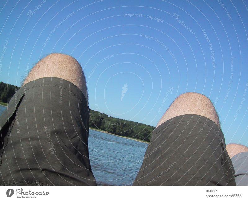 Bein am Rhein Mensch Himmel Strand Beine Fluss Shorts