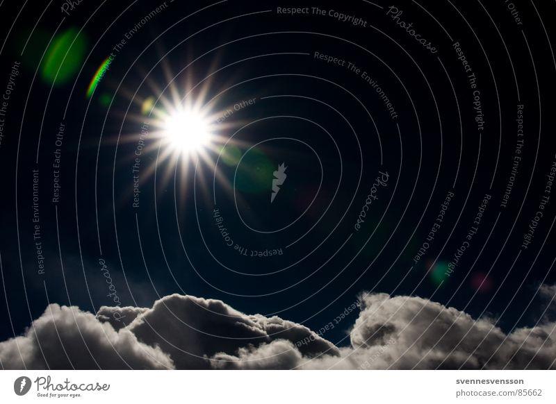 Über den Wolken Licht dunkel kalt Eis Umwelt Horizont frei Himmelsstürmer Hochsprung Unendlichkeit Sonne Schatten blau Stern (Symbol) in eisiger höhe Natur oben