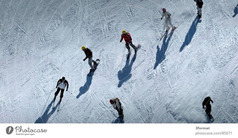 ski_vs_board Ferien & Urlaub & Reisen Winter Berge u. Gebirge Schnee Sport Spielen Menschengruppe Schule Freizeit & Hobby Aktion viele Skifahren eng abwärts Schwarm Berghang