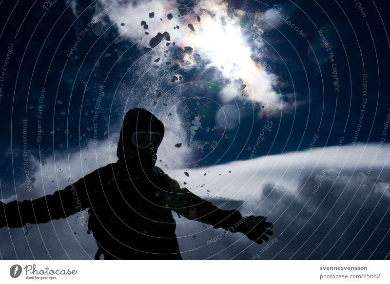 Krach Bum Bäng Gegenlicht Silhouette Sturm Naturgewalt kalt Manneskraft Wolken über den Wolken Schneesturm Orkan Ereignisse Angriff aufregend Eis Winter