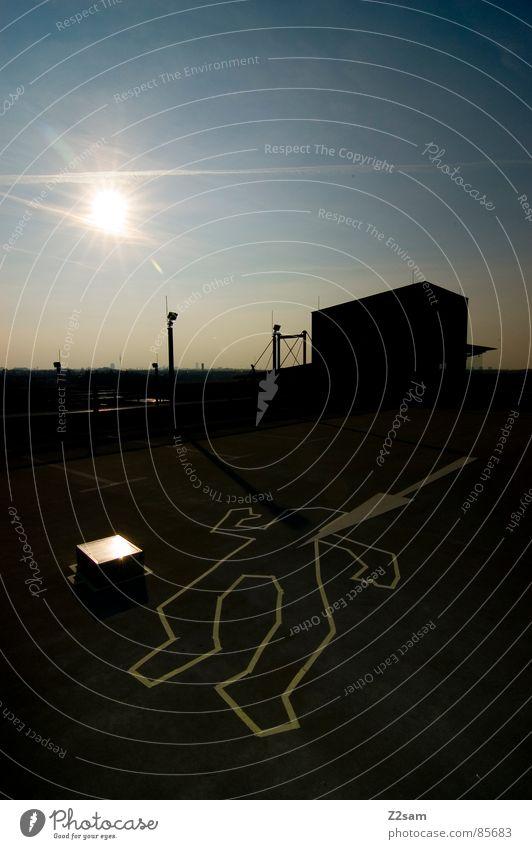 TATORT - sunrise Handschuhe Tatort Kriminalität Koffer Gangsta Rap lässig Sonnenbrille gestreift Stil Sonnenuntergang glänzend Himmel Licht Haus Gebäude Dinge