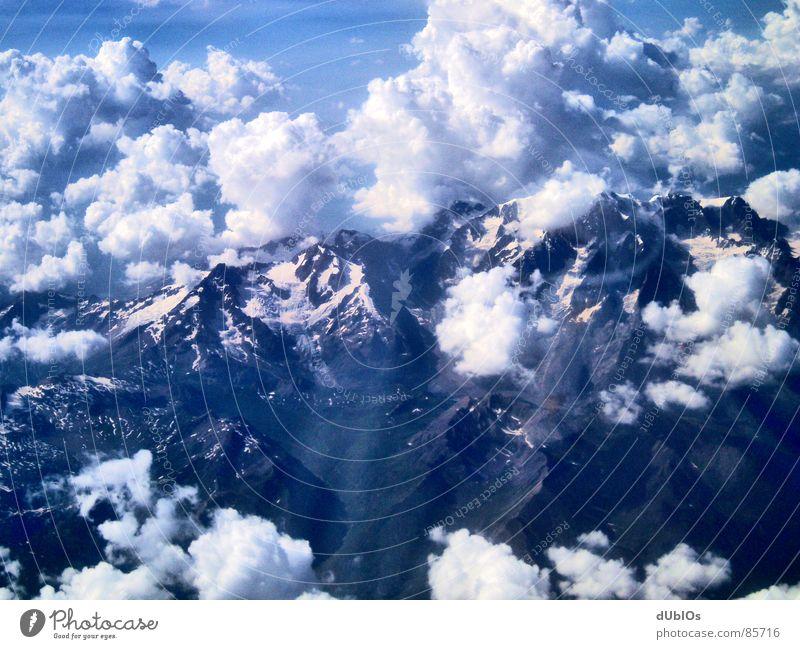 Die Alpen Bild 1 Österreich Flugzeug Wolken Vogelperspektive Himmel Berge u. Gebirge Schnee