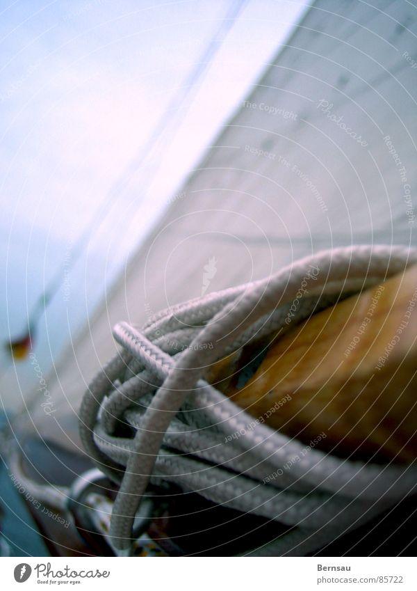 Seemannsknoten Wasser Himmel Meer Sommer Sport Spielen Freiheit Holz Wasserfahrzeug Seil Ausflug Freizeit & Hobby Verbindung Segeln Schifffahrt Segel