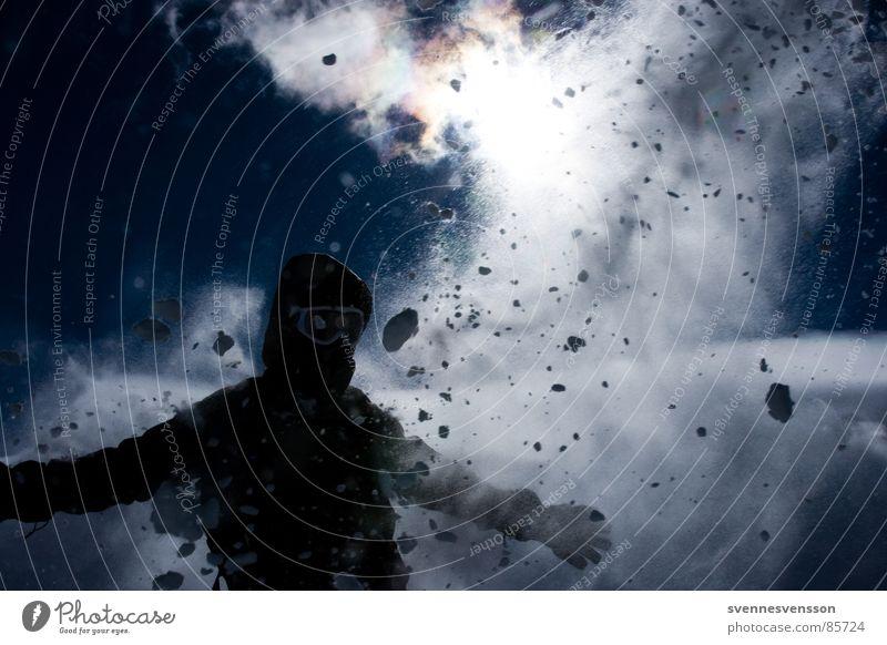 Krach Bum Bäng II Gegenlicht Silhouette Sturm Naturgewalt kalt Manneskraft Wolken über den Wolken Schneesturm Orkan Ereignisse Angriff aufregend Eis Winter