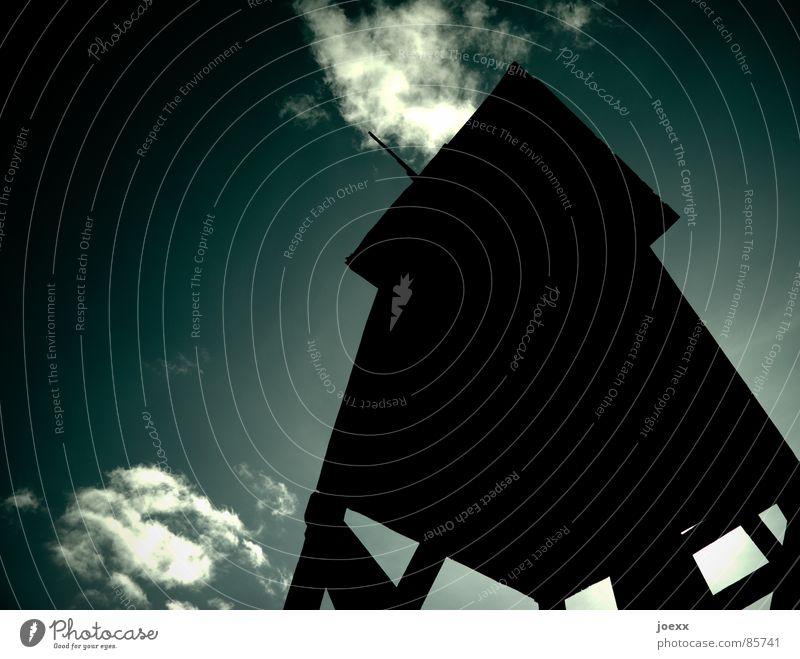 Waidmanns Unheil Himmel dunkel Holz Traurigkeit Angst Wildtier Perspektive Dach Aussicht Kontrolle Leiter Umweltschutz Panik Jäger Waffe Reh