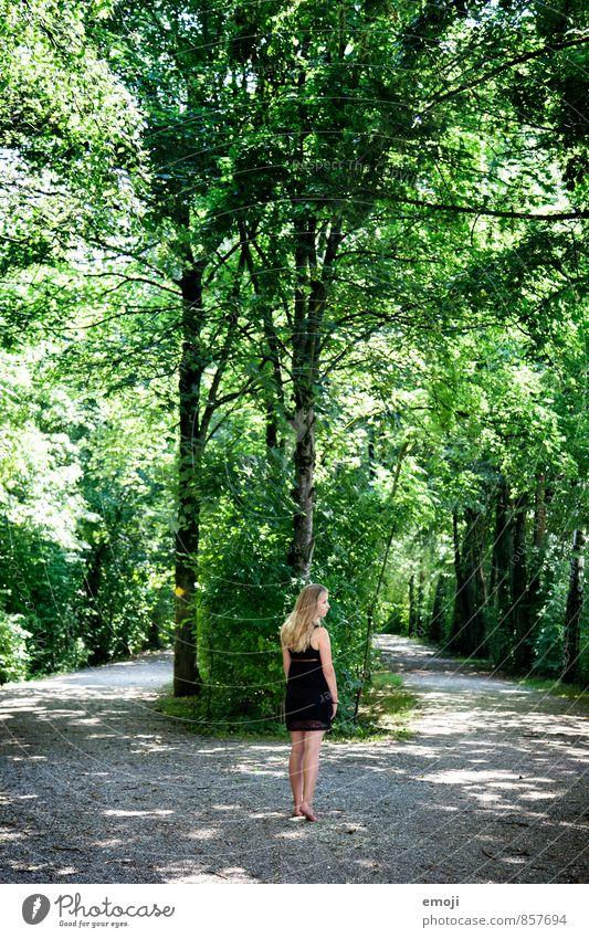grün feminin Junge Frau Jugendliche 1 Mensch 18-30 Jahre Erwachsene Umwelt Natur Sommer Schönes Wetter Baum Grünpflanze Park Wald natürlich Wege & Pfade