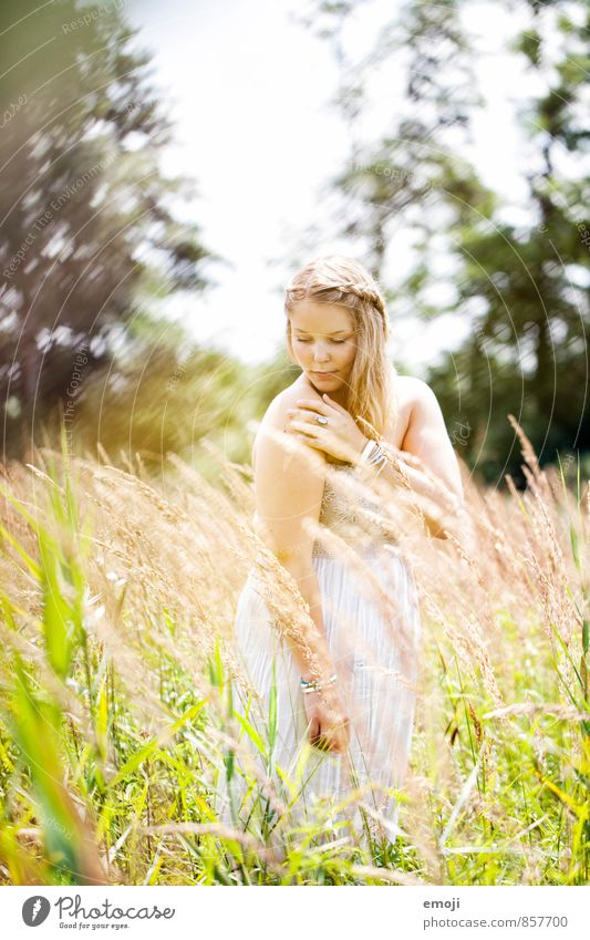 enjoy Mensch Natur Jugendliche schön Sommer Junge Frau Landschaft 18-30 Jahre Umwelt Erwachsene Wiese feminin natürlich Schönes Wetter