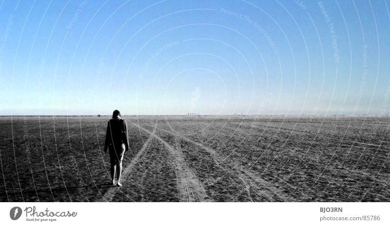 (M) Tagtraum Frau Horizont ungewiss Unendlichkeit gehen Zukunft Montage Querformat Collage horizontal stehen Gedanke Denken rastlos In sich gekehrt träumen