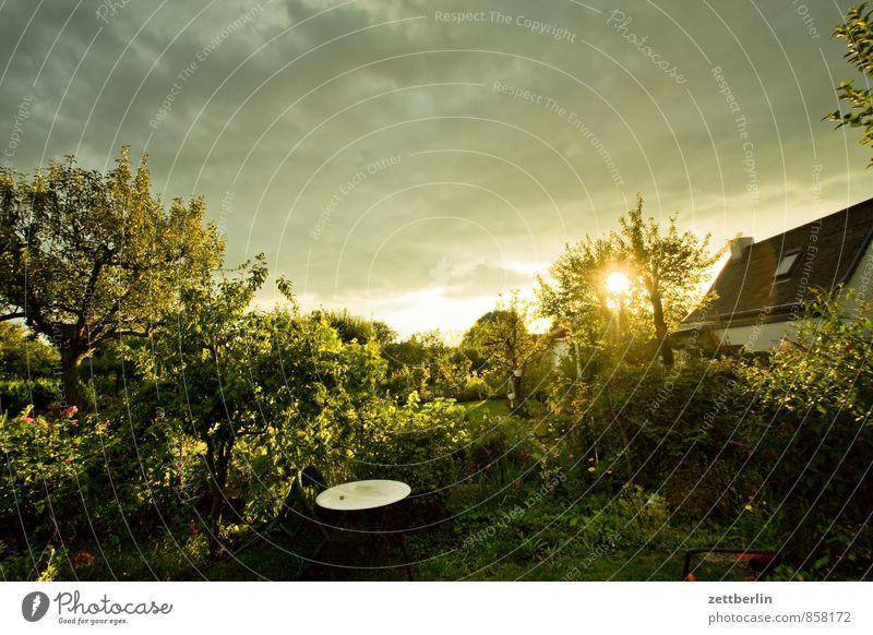 Westen Garten Gewitter Himmel Schrebergarten Kleingartenkolonie Sonne Sonnenstrahlen Sonnenuntergang Wetter Wolken Wolkendecke Tiefdruckgebiet Nachbar