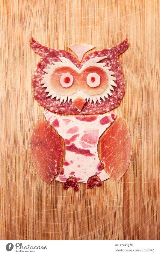 Wurstfreund. Elma Eule. Kunst Kunstwerk ästhetisch Eulenvögel Eulenaugen Wurstwaren Wurstherstellung Fleisch Salami schick ökologisch Bioprodukte Tier Vogel