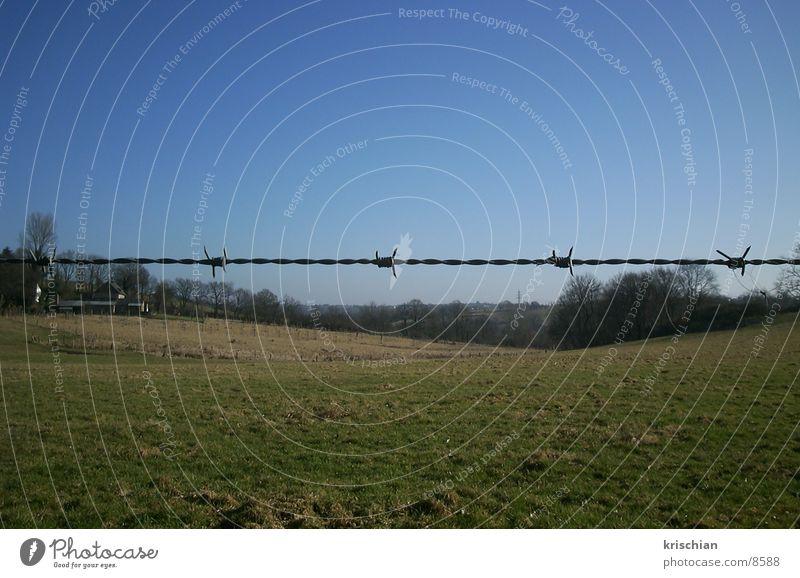 geteilte Landschaft Stacheldraht