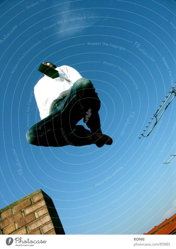 flying tie oben springen Krawatte blau Antenne Himmel Geschäftsleute schick Flugzeug fliegen Flugsportarten Schönes Wetter Leidenschaft Blindflug kleidsam