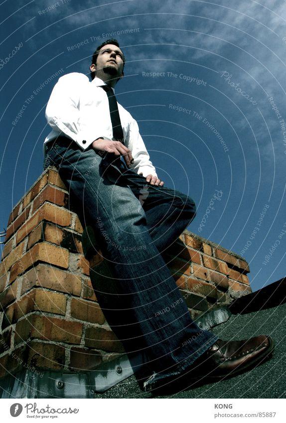 auf großem fuß Himmel Mann Wolken kalt Ordnung Geschwindigkeit Erfolg Fröhlichkeit Dach Sauberkeit Schönes Wetter Backstein Beruf Gelassenheit Sonnenbad