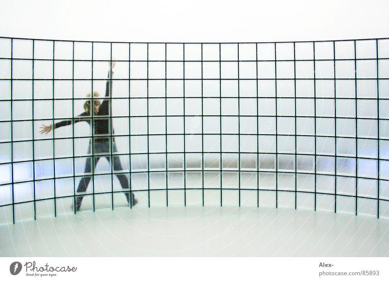 vernetzt Frau Wand durchsichtig Vernetzung Raster strecken virtuell Performance Matrix Wölbung Glasbaustein cyber Cyberspace Glaswand Vor hellem Hintergrund