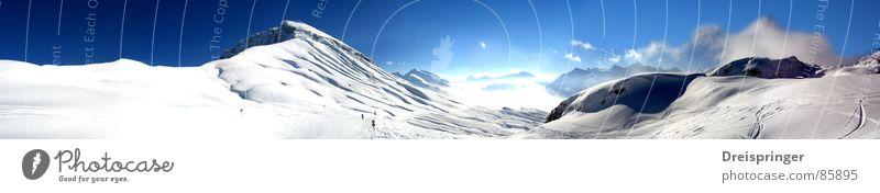 Österreicher Berge Himmel Natur schön Sonne Einsamkeit Landschaft Wolken Winter Berge u. Gebirge Schnee Wetter wandern leer Sehnsucht Schneebedeckte Gipfel Panorama (Bildformat)
