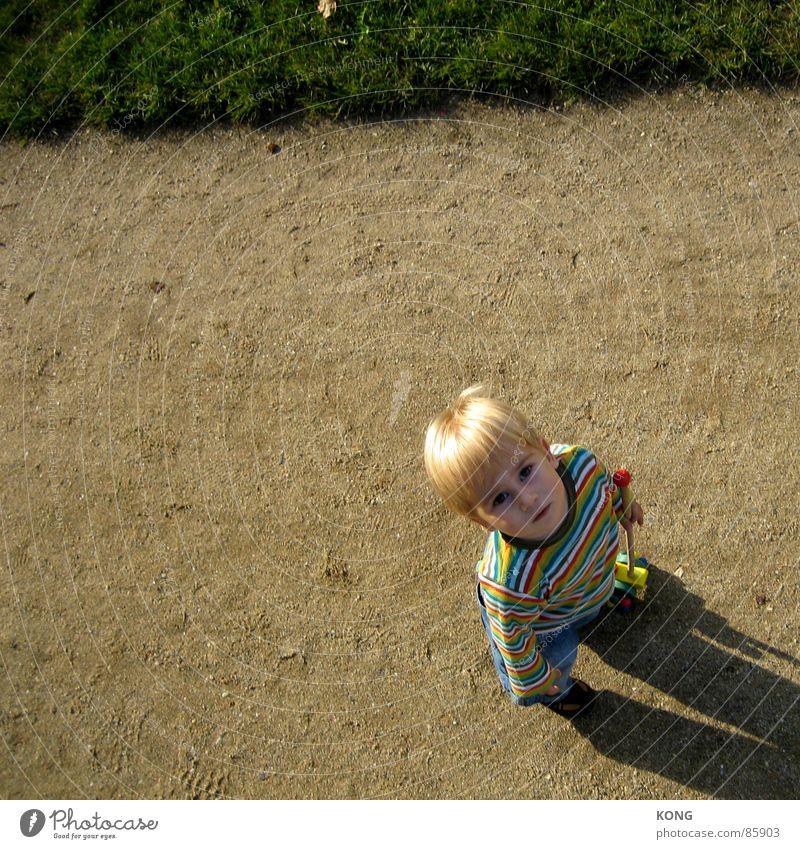 papa ist größer. blond Kind Kleinkind Streifen gestreift Wiese Gras Blick Junge Neugier fixieren beige entdecken Sonnenbad Interesse Kommunizieren oben