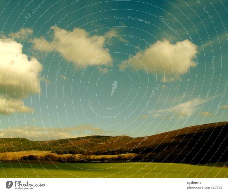 Wolken ziehen Himmel Natur grün schön Sonne Erholung Landschaft Freude Ferne Wald Berge u. Gebirge Wärme Frühling Gefühle Wiese