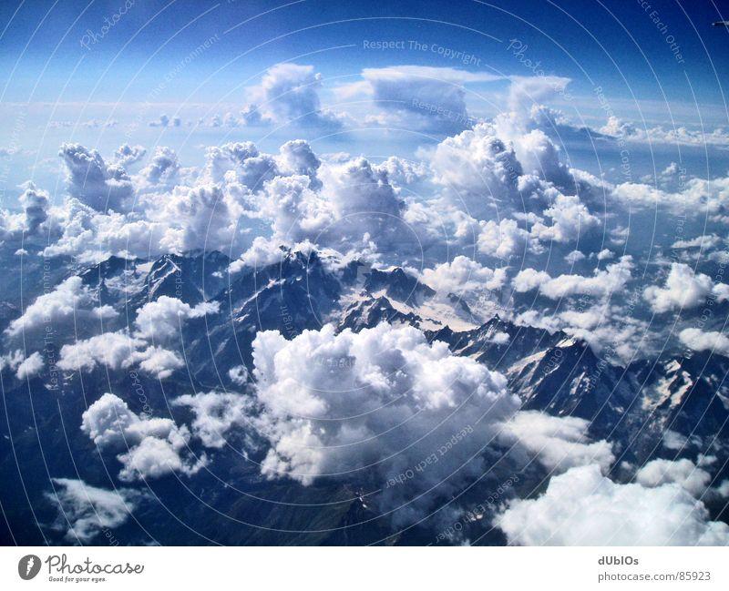 Die Alpen Bild 2 Österreich Flugzeug Wolken Vogelperspektive Himmel Berge u. Gebirge Schnee
