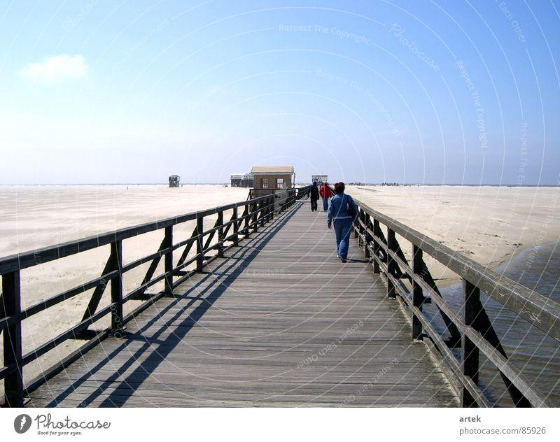Kein Wasser am Meer See Steg St. Peter-Ording beige Küste Sandbank mehrere Meeresspiegel Strand Deutschland Erde Wattenmeer sehr viele an der Küste