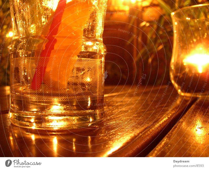 Campari orange Glas Tisch Kerze Club Alkohol Aperitif