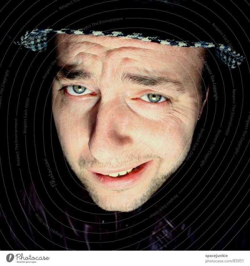 Hä? Porträt Denken Gedanke Jacke Lederjacke Spitzel Junger Mann Geistesabwesend Agent Freude Idee in gedanken woanders monolog führen geistesabwesend sein