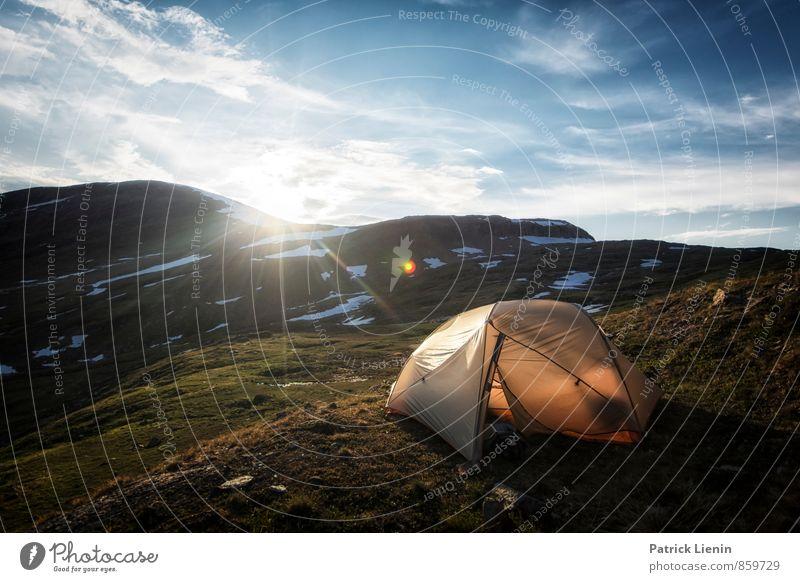 Midnight Sun III Zufriedenheit Erholung ruhig Meditation Tourismus Ausflug Abenteuer Ferne Freiheit Expedition Camping Berge u. Gebirge wandern Umwelt Natur