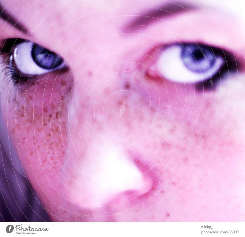 miaaaaaaaaauuu Frau Gesicht schwarz Nase Sommersprossen