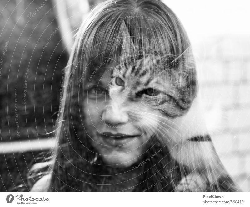Catgirl schön Kindererziehung Mensch feminin Junge Frau Jugendliche Kopf 1 13-18 Jahre Tier Haustier Katze exotisch Fröhlichkeit schwarz weiß Gefühle
